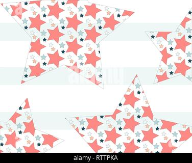 color pattern big stars inside small stars on striped background - Stock Photo