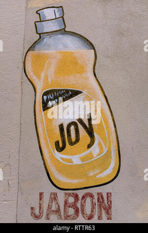 grocery items painted on wall of Country Club Market, Albuquerque, New Mexico (dish washing liquid) - Stock Photo