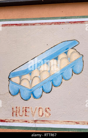grocery items painted on wall of Country Club Market, Albuquerque, New Mexico (carton of eggs) - Stock Photo