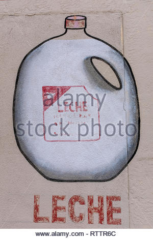 grocery items painted on wall of Country Club Market, Albuquerque, New Mexico (milk) - Stock Photo