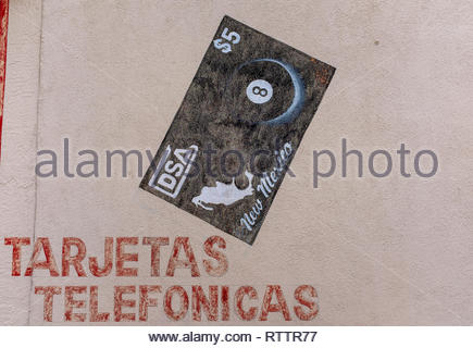 grocery items painted on wall of Country Club Market, Albuquerque, New Mexico (telephone card, phonecard, calling card) - Stock Photo
