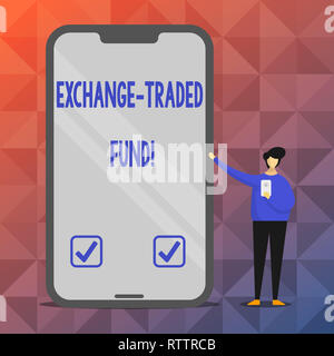 Text sign showing Exchange Traded Fund. Conceptual photo Marketable security that tracks a stock index - Stock Photo