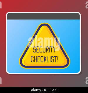 Text sign showing Security Checklist. Conceptual photo list with authorized names to enter allowing procedures - Stock Photo