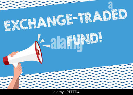Conceptual hand writing showing Exchange Traded Fund. Business photo text Marketable security that tracks a stock index - Stock Photo
