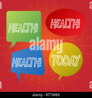 Text sign showing Health. Conceptual photo State of being free from Illness Injuries Mental Physical condition - Stock Photo