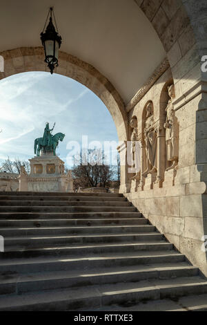 Morning at the Fishermen's Bastion in Budapest. - Stock Photo