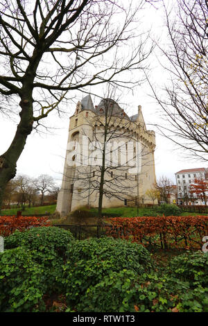 The Halle Gate is a medieval fortified city gate and the last vestige of the second walls of Brussels, City of Brussels, Belgium, 02 March 2019, Photo - Stock Photo
