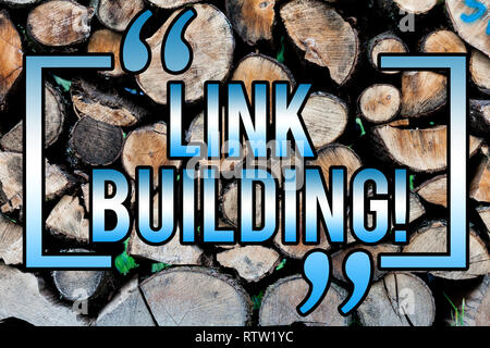 Word writing text Link Building. Business concept for Process of acquiring hyperlinks from other websites Connection Wooden background vintage wood wi - Stock Photo