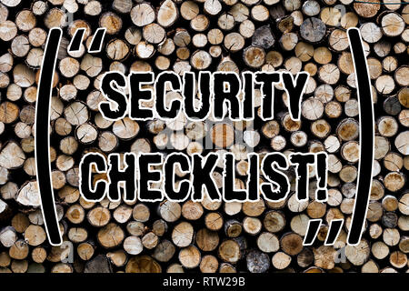 Text sign showing Security Checklist. Conceptual photo list with authorized names to enter allowing procedures Wooden background vintage wood wild mes - Stock Photo