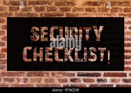 Text sign showing Security Checklist. Conceptual photo list with authorized names to enter allowing procedures Brick Wall art like Graffiti motivation - Stock Photo
