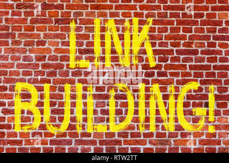 Writing note showing Link Building. Business photo showcasing Process of acquiring hyperlinks from other websites Connection Brick Wall art like Graff - Stock Photo