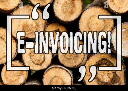 Word writing text E Invoicing. Business concept for Company encourages use of digital billing Wooden background vintage wood wild message ideas intent - Stock Photo