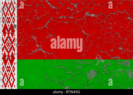 Flag of Belarus painted on cracked dirty wall. National pattern on vintage style surface. - Stock Photo