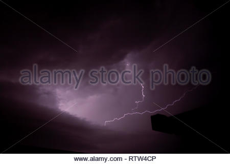 deep cloud view from the storm with flash - Stock Photo