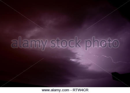 dramatic cloud view from the storm with flash - Stock Photo