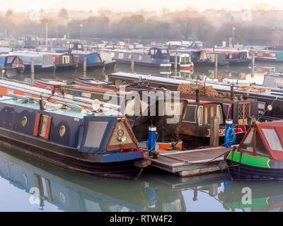 Boats at Trinity Marina, inland narrowboat and canal boat marina, Ashby Canal, Hinckley, Leicestershire, UK. - Stock Photo