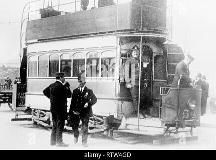 RIC constable officer on board a dublin street car circa 1910 - Stock Photo