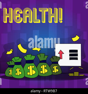 Handwriting text writing Health. Concept meaning State of being free from Illness Injuries Mental Physical condition - Stock Photo