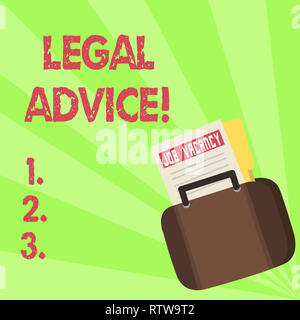 Handwriting text Legal Advice. Concept meaning Recommendations given by lawyer or law consultant expert - Stock Photo