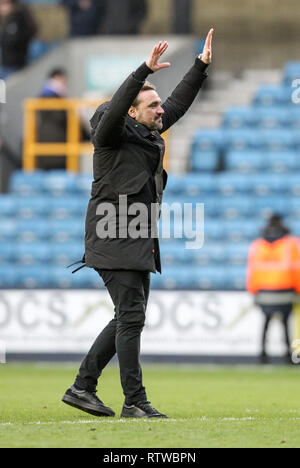 Washington, United States. 02nd Mar, 2019. U.S. The Den, London, England, UK. 2nd March 2019. Norwich City Manager Daniel Farke leads the travelling supporters in their celebrations during the EFL Sky Bet Championship match between Millwall and Norwich City at The Den, London, England on 2 March 2019. Photo by Ken Sparks.  Editorial use only, license required for commercial use. No use in betting, games or a single club/league/player publications. - Stock Photo