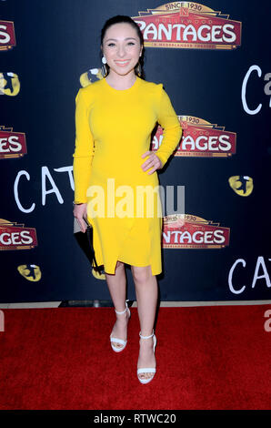 Los Angeles, CA, USA. 27th Feb, 2019. LOS ANGELES - FEB 27: Ava Cabtrell at the ''Cats'' Play Opening at the Pantages Theater on February 27, 2019 in Los Angeles, CA Credit: Kay Blake/ZUMA Wire/Alamy Live News - Stock Photo