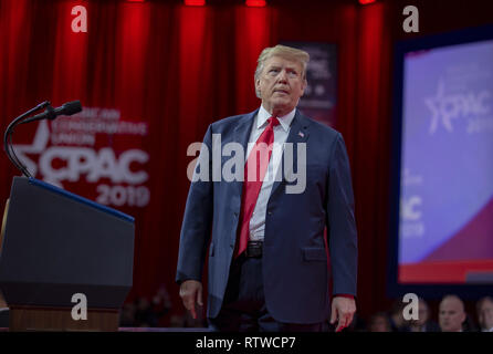 Washington, DC. 02nd Mar, 2019. U.S. President Donald Trump during CPAC 2019 on March 02, 2019 in Washington, DC. The American Conservative Union hosts the annual Conservative Political Action Conference to discuss conservative agenda. Credit: Tasos Katopodis/Pool via CNP | usage worldwide Credit: dpa/Alamy Live News - Stock Photo