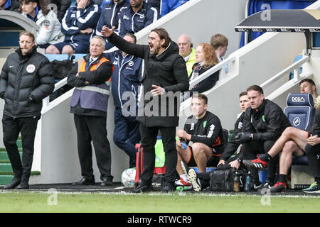 Washington, United States. 02nd Mar, 2019. U.S. Norwich City Manager Daniel Farke barks out orders to his players during the EFL Sky Bet Championship match between Millwall and Norwich City at The Den, London, England on 2 March 2019. Photo by Ken Sparks.  Editorial use only, license required for commercial use. No use in betting, games or a single club/league/player publications. - Stock Photo