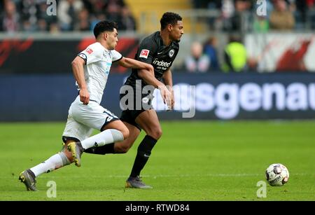 Frankfurt, Deutschland. 02nd Mar, 2019. firo: 02.03.2019, football, 1.Bundesliga, season 2018/2019, Eintracht Frankfurt - TSG 1899 Hoffenheim, duels, full figure, | usage worldwide Credit: dpa/Alamy Live News - Stock Photo