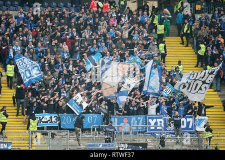 Frankfurt, Deutschland. 02nd Mar, 2019. firo: 02.03.2019, football, 1.Bundesliga, season 2018/2019, Eintracht Frankfurt - TSG 1899 Hoffenheim, Hoffenheim Fans in the Gasteblock, | usage worldwide Credit: dpa/Alamy Live News - Stock Photo
