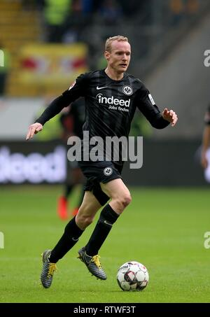 Frankfurt, Deutschland. 02nd Mar, 2019. firo: 02.03.2019, football, 1.Bundesliga, season 2018/2019, Eintracht Frankfurt - TSG 1899 Hoffenheim, single action, Sebastian RODE, Eintracht Frankfurt, | usage worldwide Credit: dpa/Alamy Live News - Stock Photo