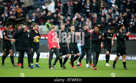 Frankfurt, Deutschland. 02nd Mar, 2019. firo: 02.03.2019, football, 1.Bundesliga, season 2018/2019, Eintracht Frankfurt - TSG 1899 Hoffenheim, final jubilation, more than five people, | usage worldwide Credit: dpa/Alamy Live News - Stock Photo