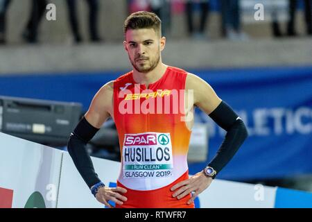 Glasgow, Scotland, UK. 2nd March, 2019. HUSILLOS Óscar ESP competing in the 400m Men Final event during day TWO of the European Athletics Indoor Championships 2019 at Emirates Arena  in Glasgow, Scotland, United Kingdom. 2.03.2019 Credit: Cronos/Alamy Live News - Stock Photo