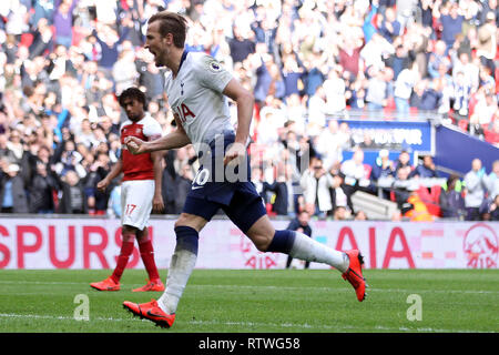 Wembley, London, UK. 2nd March, 2019.Harry Kane of Tottenham Hotspur celebrates afterscoring his team's first goal from the penalty spot. EPL Premier League match, Tottenham Hotspur v Arsenal at Wembley Stadium in London on Saturday 2nd March 2019.  this image may only be used for Editorial purposes. Editorial use only, license required for commercial use. No use in betting, games or a single club/league/player publications . pic by Steffan Bowen/Andrew Orchard sports photography/Alamy Live news - Stock Photo
