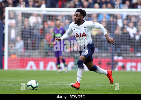 Wembley, London, UK. 2nd March, 2019.Danny Rose of Tottenham Hotspur in action. EPL Premier League match, Tottenham Hotspur v Arsenal at Wembley Stadium in London on Saturday 2nd March 2019.  this image may only be used for Editorial purposes. Editorial use only, license required for commercial use. No use in betting, games or a single club/league/player publications . pic by Steffan Bowen/Andrew Orchard sports photography/Alamy Live news - Stock Photo