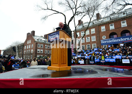 New York, NY, USA. 2nd March, 2019. Bernie Sanders, Independent US Senator from Vermont speaks on stage as he kicks-off his campaign for the 2020 U.S. Presidential Elections on a Democratic ticket at a rally at Brooklyn College, in Brooklyn, NY on March 2, 2019. Credit: OOgImages/Alamy Live News - Stock Photo