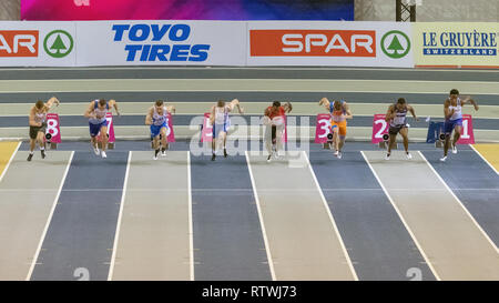 Glasgow, Scotland, UK. 2nd March, 2019. Competitors in the men's 60 metres final, during Day 2 of the Glasgow 2019 European Athletics Indoor Championships, at the Emirates Arena. Iain McGuinness / Alamy Live News - Stock Photo