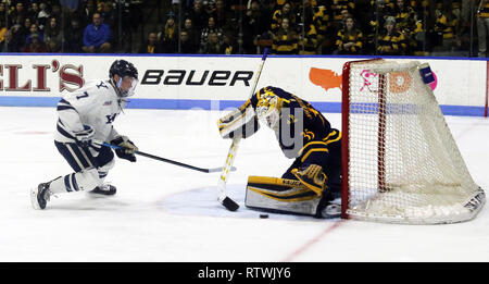 New Haven, CT, USA. 2nd Mar, 2019. March 2, 2019 - New Haven, Connecticut, USA: Quinnipiac goaltender #35 ANDREW SHORTRIDGE makes the save against Yale #7 JOE SNIVLEY during Quinnipiac's 4-1 win, which clinched the Bobcats regular season championship, and makes them the No. 1 overall seed in the 2019 ECAC Hockey Tournament. Games between the two schools, who are 8 miles from each other in Connecticut, have been a heated rivalry since to two teams played for a national championship in 2013, which was won by Yale 4-0. Stan Godlewski/ZUMA Press Credit: Stan Godlewski/ZUMA Wire/Alamy Live News - Stock Photo