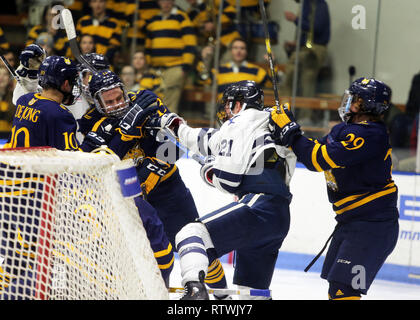 New Haven, CT, USA. 2nd Mar, 2019. March 2, 2019 - New Haven, Connecticut, USA: Quinnipiac # 13 CHASE PRISKI and #29 ODEEN TUFTO mix it up with Yale # 21 TYLER WELSH during Quinnipiac's 4-1 win over Yale, which clinched the Bobcats regular season championship, and makes them the No. 1 overall seed in the 2019 ECAC Hockey Tournament. Games between the two schools, who are 8 miles from each other in Connecticut, have been a heated rivalry since to two teams played for a national championship in 2013, which was won by Yale 4-0. Stan Godlewski/ZUMA Press (Credit Image: © Stan Godlewski/ZUMA W - Stock Photo