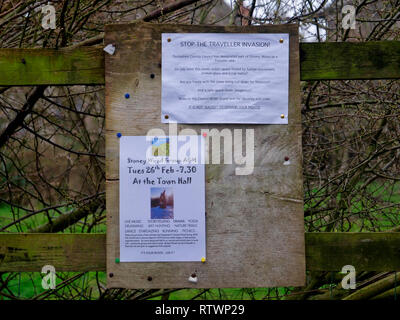 Stoney Wood, Wirksworth, Derbyshire Dales, UK. 03rd March, 2019. Sign at local beauty spot Stoney Woods saying Stop The Traveller Invasion after Derbyshire Dales District Council try relocating a GRT Travellers camp on disputed land adjacent to Stoney Wood, Wirksworth, Derbyshire Dales. Wirksworth Town Council are seeking legal advise to try & protect the trees, rare wild orchids & other wildlife in and around this Sight of Special scientific Interest. Credit: Doug Blane/Alamy Live News - Stock Photo