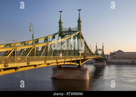 Sunrise at Liberty Bridge in Budapest, Hungary. - Stock Photo