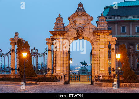 Dawn at Buda Castle in Budapest, Hungary. - Stock Photo