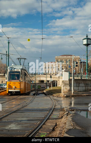 Traditional yellow tram in Budapest, Hungary. - Stock Photo