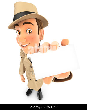 3d detective holding company card, illustration with isolated white background - Stock Photo
