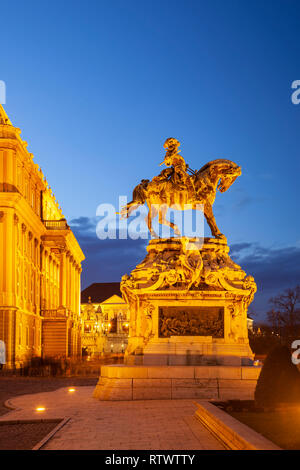 Evening at prince Eugene de Savoy statue in Buda Castle, Budapest. - Stock Photo