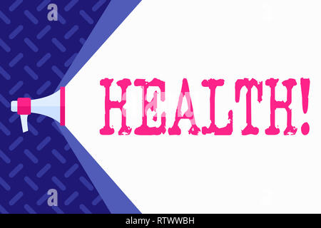 Word writing text Health. Business concept for State of being free from Illness Injuries Mental Physical condition - Stock Photo