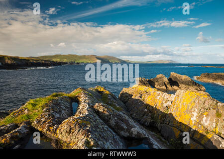 View towards Ballydonegan Bay and the open Atlantic Ocean near Allihies, Beara Peninsula, West,Cork, Ireland - Stock Photo
