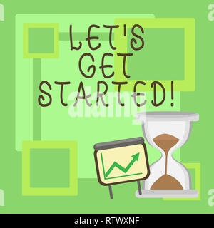 Handwriting text Let S Get Started. Concept meaning beginning time motivational quote Inspiration encourage - Stock Photo
