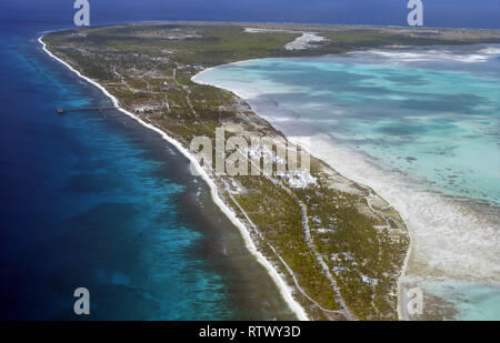 Aerial view of Christmas Island (Kiritimati),  Kiribati - Stock Photo