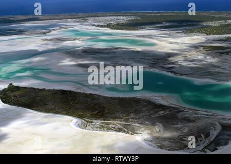 Aerial view of hypersaline lakes in Christmas Island (Kiritimati),  Kiribati - Stock Photo