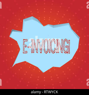 Text sign showing E Invoicing. Conceptual photo Company encourages use of digital billing - Stock Photo